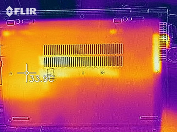 Heat distribution on the underside (at idle)