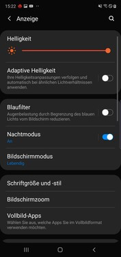 Display settings - Night mode