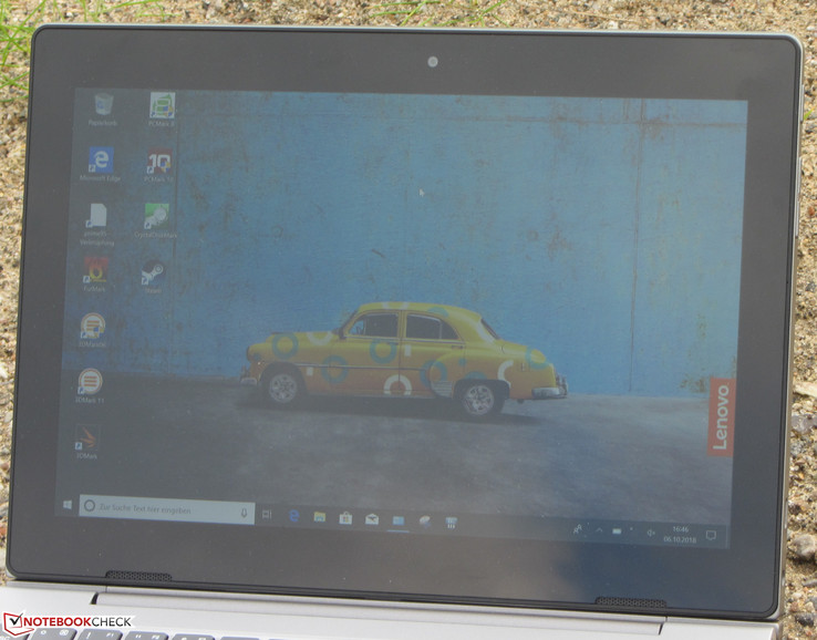 Using the IdeaPad D330-10IGM outside on a cloudy day.