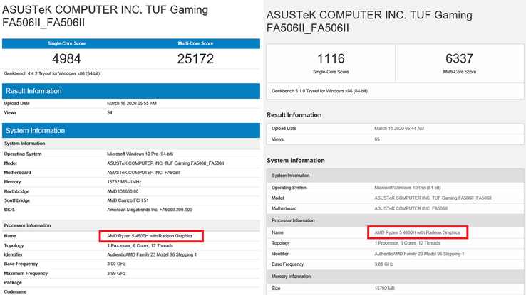 Geekbench 4 and 5 results. (Image source: Geekbench)