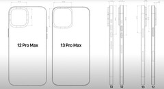 Schematic and CAD leaks point to a notably larger rear camera array on the forthcoming iPhone 13 models from Apple. (Image: EverythingApplePro/Macrumors)