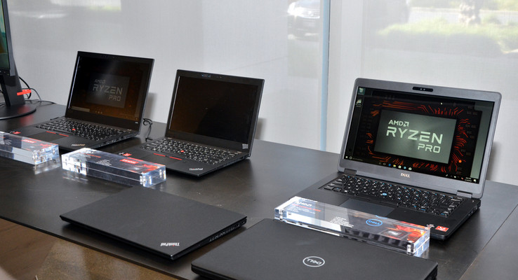 AMD Ryzen Pro laptops from Lenovo and Dell (Image: Nico Ernst)