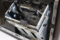 All three 3.5-inch SATA slots sit snugly on the metal tray