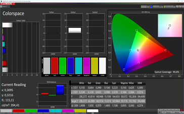 Color space (target color space: sRGB), color mode: vibrant, standard
