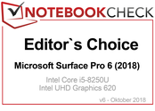 Editor's Choice Award in October 2018: Microsoft Surface Pro 6 (2018)