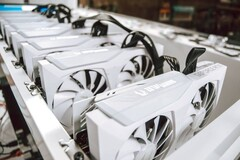 The ZOTAC Gaming GeForce RTX 30 Series White Edition cards are hooked up seemingly ready for crypto mining. (Image source:@ZOTAC_USA)