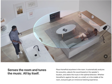 The HomePod can direct audio output based on its location. (Source: Apple)