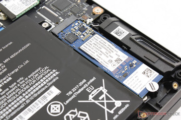 Intel Optane M.2 drive. Note the Lenovo sticker that may impact warranty if torn