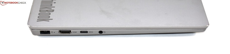 Left-hand side: Slim-Tip charging port, HDMI, USB 3.1 Gen 2 Type-C, 3.5 mm jack