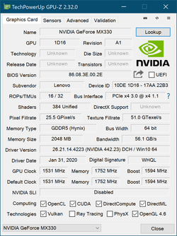GPU-Z Nvidia GeForce MX330