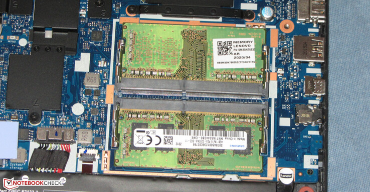 Two RAM slots are available. Memory runs in dual-channel mode.