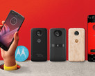 The Moto Z2 Play, pictured here alongside four new Moto Mods. (Source: Motorola)