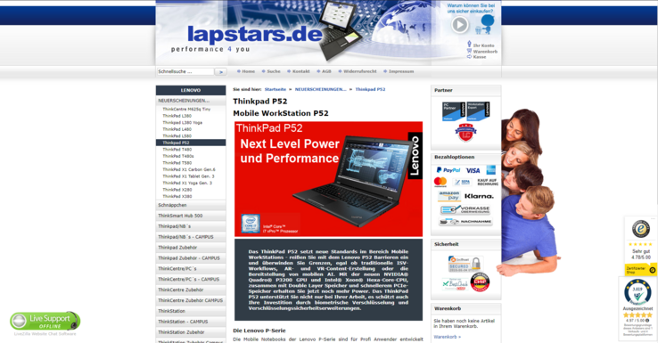 The German text mentions the Nvidia Quadro P3200 as a GPU-option for the ThinkPad P52