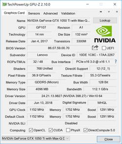 GPU-Z Nvidia GeForce GTX 1050 Ti Max-Q