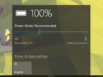The Power-Mode slider allows users to select from four preset power modes for battery life or performance. (Source: Own)
