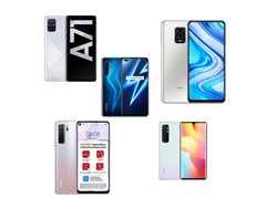 In the test: Xiaomi Mi Note 10 Lite vs. Huawei P40 Lite 5G vs. realme 6 Pro vs. Samsung Galaxy A71 vs. Redmi Note 9 Pro. Test devices provided by Huawei Germany, Samsung Germany, Xiaomi Germany, realme Germany, and Trading Shenzhen.