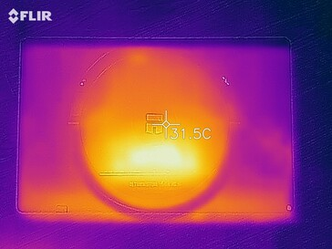 Heat map of the back of the device under load