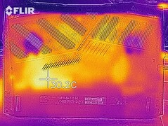 Heat map of the bottom of the device at idle