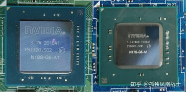 Die size comparison between small package MX450 (left) and the MX350 (right). (Image Source: Zhuanlan)
