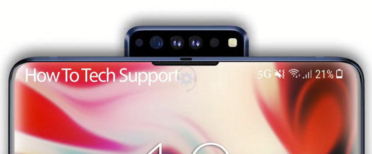 Another possible pop-up camera solution for the Note 10. (Image source: YouTube/How To Tech Support)