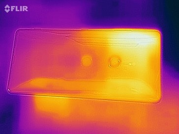 Thermal imaging photo of the back of the device under load