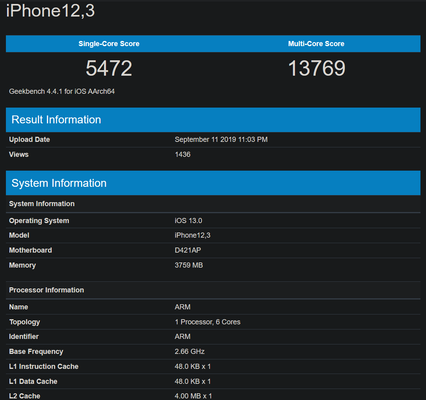 The A13 Bionic appears to be the new king of mobile SoCs. (Source: Geekbench)