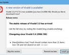Vivaldi 3.5.2155.73 browser update notification in Windows 10 (Source: Own)