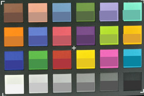 Photo of ColorChecker colors. We displayed the original color in the bottom half of each patch.