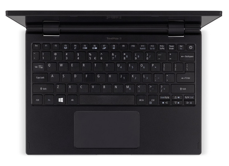 The keyboard of the Acer TravelMate Spin B1