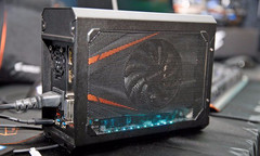 "The Aorus ""Gaming Box"" is less than half the size of competing external graphics docks. (Source: LaptopMag)"