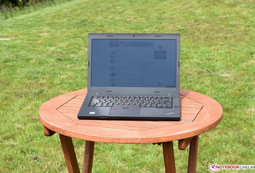 The Lenovo ThinkPad T470p in the sunlight.
