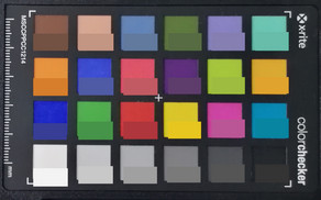 ColorChecker colors photographed. The bottom half of every square shows the original color.