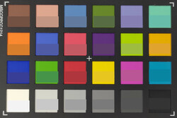 ColorChecker: The bottom half of each box represents the original color.