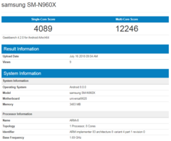 Geekbench listing of the Samsung Galaxy Note 9 with Exynos 9820 SoC. (Source: Mobielkopen / Geekbench)