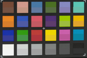 ColorChecker Passport: reference color at the bottom of each quadrant.
