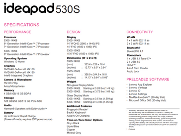 Lenovo IdeaPad 530S specifications. (Source: Lenovo)