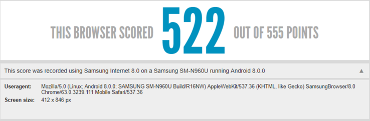 The Galaxy Note 9 scores a high score in the HTML5 test. (Source: HTML5test.com)