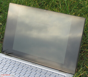 The Chromebook outdoors (shot in an overcast sky).