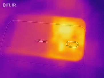Heat map of the rear of the device under load