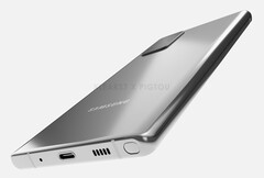 This Samsung Galaxy Note 20 render has an S Pen surprise on the bottom edge. (Image source: Pigtou)