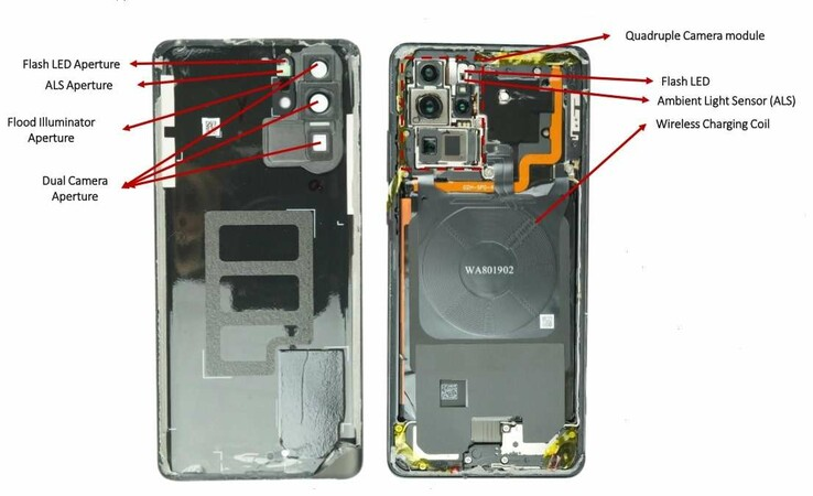 Inside the guts of the Huawei P30 Pro quad-camera system. (Source: EETimes)