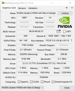 GPU-Z: Quadro P4000 with Max-Q Design