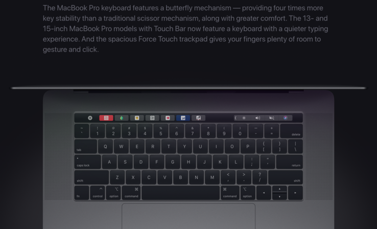 Apple is still advertising the MacBook butterfly keyboard as a feature. (Source: Apple)