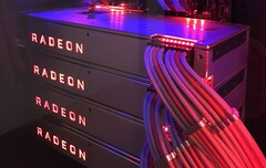 Four XFX Radeon RX Vega 64 desktop graphics cards with liquid cooling were used. (Source: Reddit - u/RadeonRampage365)