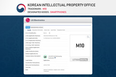 The purported trademark for the name LG M10. (Source: LetsGoDigital)