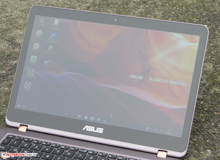 The ZenBook outdoors (under completely overcast skies)