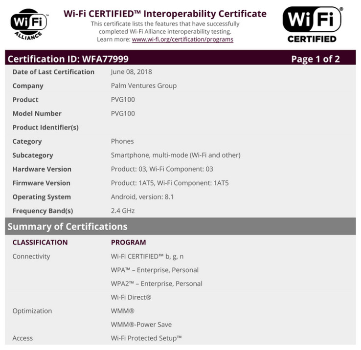 Palm PVG100 Wi-Fi Alliance certification. (Source: Android Police)