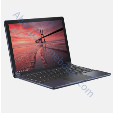 USB-C connector on the left lower side and thin speakers on each side of the displays (Source: AboutChromebooks.com)