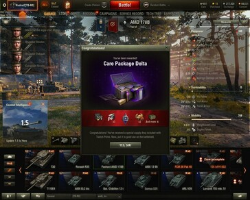World of Tanks 1.5 Care Package Delta awarded (Source: Own)