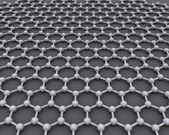 Graphene is made from a hexagonal latticework of carbon atoms and can technically be considered a single aromatic molecule regardless of its size. (Source: WikiCommons)